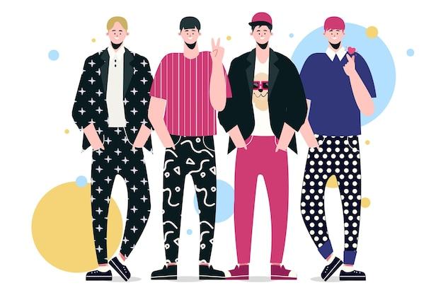 Illustrazione del gruppo k-pop di giovani ragazzi
