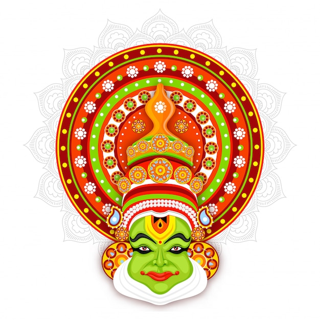 Illustration of kathakali dancer face on mandala pattern background.