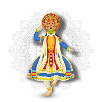 Illustration of kathakali dancer performing on white mandala pattern background.