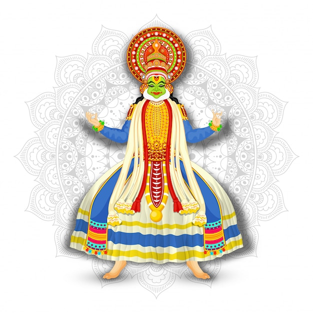 Illustration of kathakali dancer on white mandala pattern background.