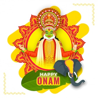 Illustration of kathakali dancer with elephant face and banana leaf on yellow and red mandala frame for happy onam celebration.
