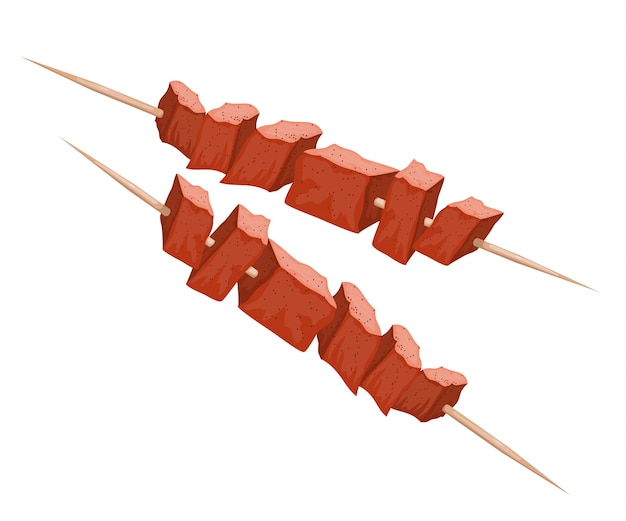 Illustration of kebab on wood skewers. meat on the grill. cartoon style kebab. meat food. traditional meat dish on fire