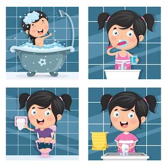 Illustration of kid bathing, brushing teeth, washing hands after toilet