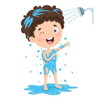 Illustration of kid bathing