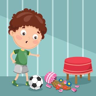 Illustration of kid break flower vase