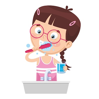 Illustration of kid brushing teeth