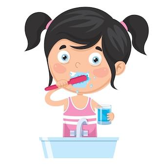 Illustration of kid brushing teeth