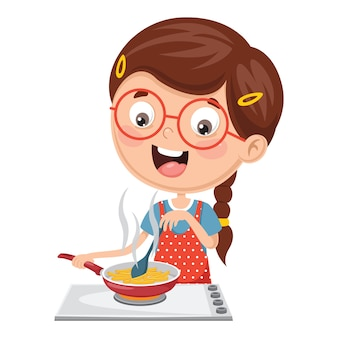 Illustration of kid cooking meal