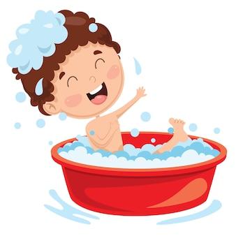Illustration of kid having bath