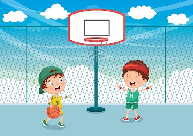 Illustration of kid playing basketball