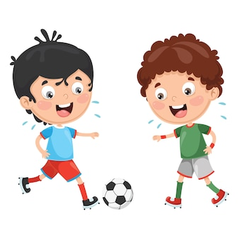 Illustration of kid playing football