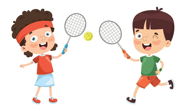 Illustration of kid playing tennis