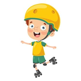 Illustration of kid roller skating