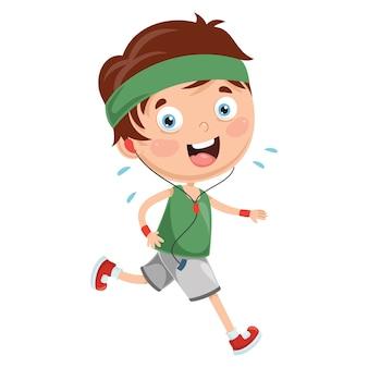 Illustration of kid running