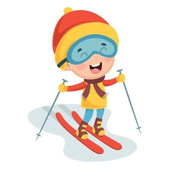 Illustration of kid skiing