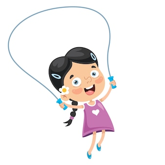 Illustration of kid skipping rope