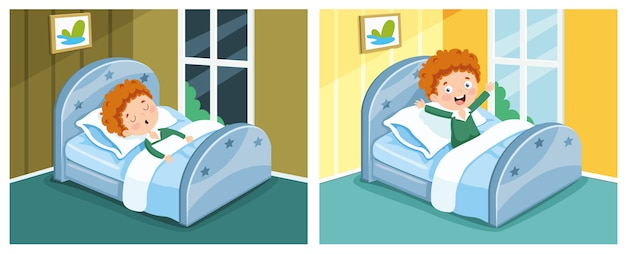 Illustration of kid sleeping and waking up