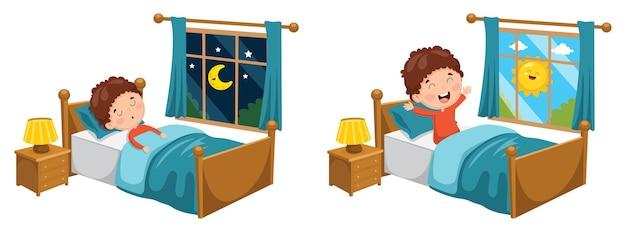 Illustration of kid sleeping