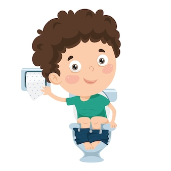 Illustration of kid at toilet