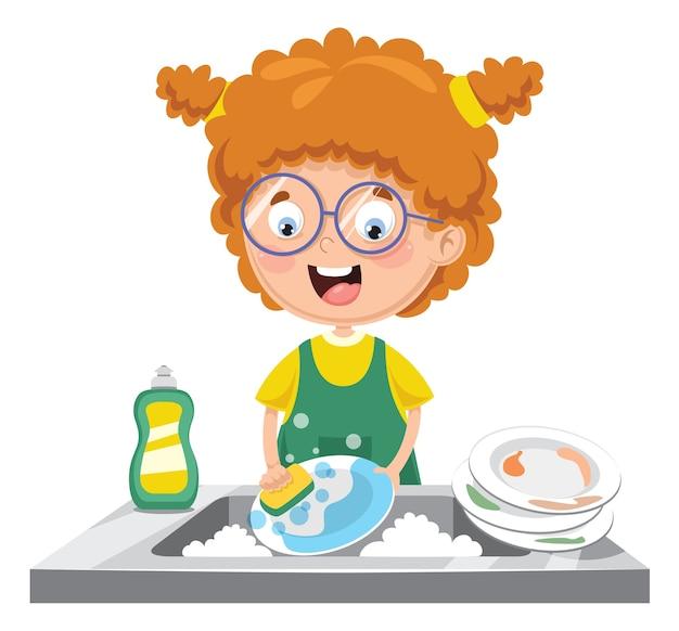 Illustration of kid washing dishes