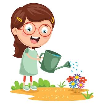 Illustration of kid watering flowers