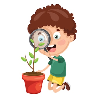 Illustration of kid with magnifier