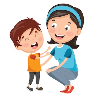 Illustration of kid with mother