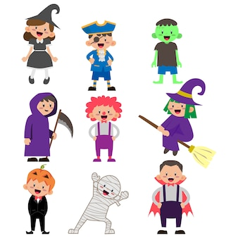 Illustration of kids character wearing halloween costume
