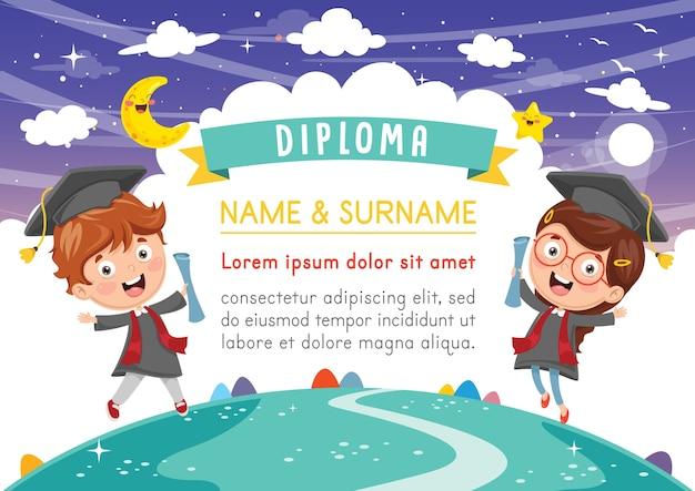 Illustration of kids diploma