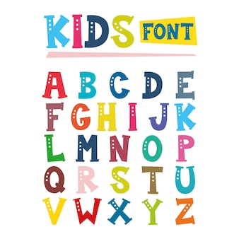 Illustration of kids font design