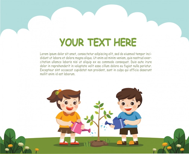 Illustration of kids is planting small plant in garden. for save the earth. template for advertising brochure.
