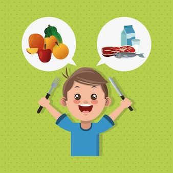 Illustration of kids menu, food and nutrition related