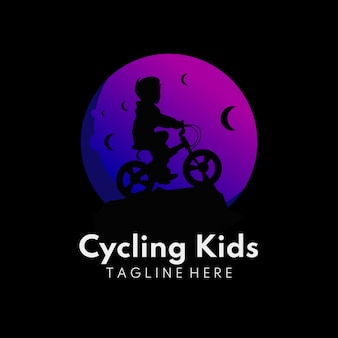 Illustration of kids in the moon with cycling activity moon children logo
