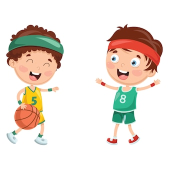 Illustration of kids playing basketball