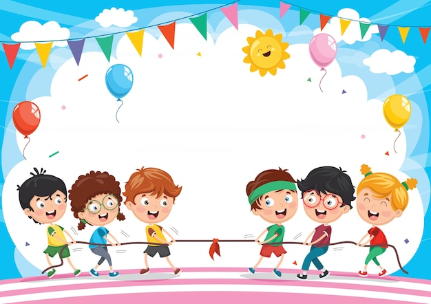 Illustration of kids playing pulling rope