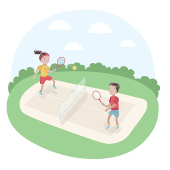 Illustration of kids playing tennis in the park