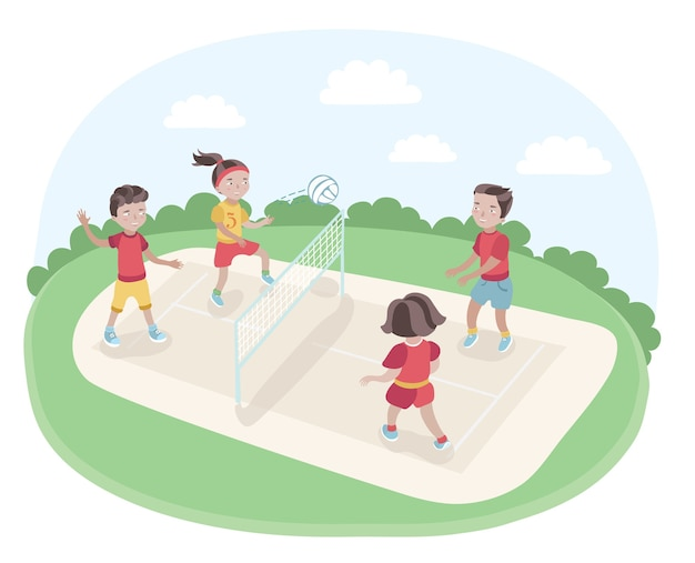 Illustration of kids playing volleyball in the park