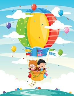 Illustration of kids riding hot air balloon