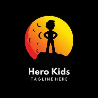Illustration of kids stand in the moon children logo