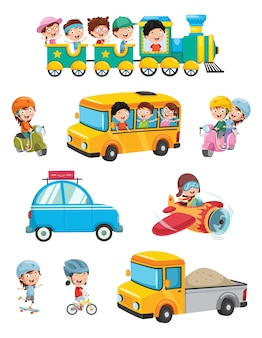 Illustration of kids transportation