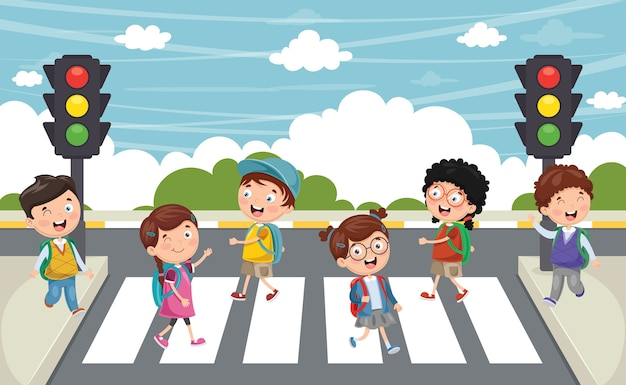 Illustration of kids walking across crosswalk