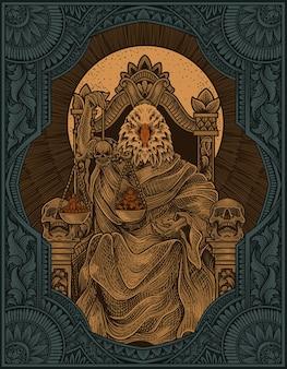 Иллюстрация короля орла сатаны на готической гравюре в стиле орнамента