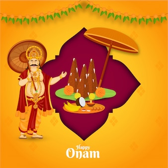 Illustration of king mahabali with thrikkakara appan idol and worship plate on pink and orange background for happy onam celebration.