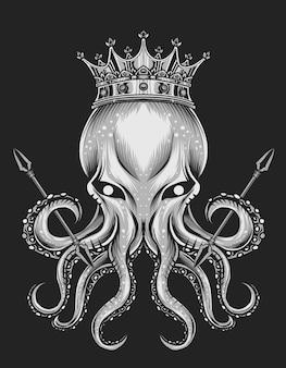 Illustration king octopus on black background