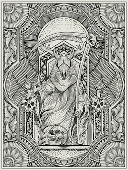 Иллюстрация царь сатаны с гравировкой