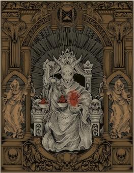 Иллюстрация царя сатаны на готической гравюре в стиле орнамента