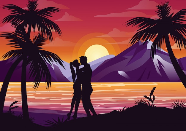 Illustration of kissing couple silhouette on the beach under the palm tree on sunset background and mountains in flat style.