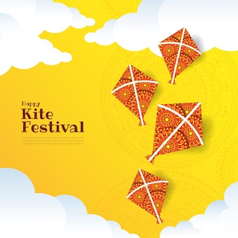 Illustration  of kite string festival of india