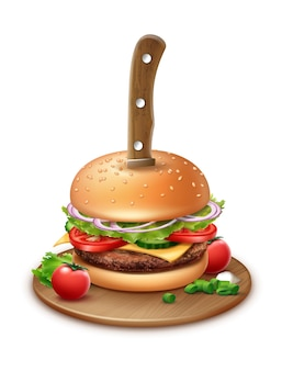 Illustration of knife stabbed through a burger with cherry tomato and chopped onions on wooden plate