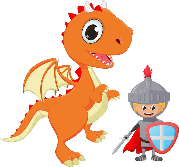 Illustration of knight and dragon